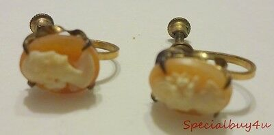 Antique True Carved Shell Cameo Screw on clip Earring's WHITE CO. 12K Gold Fill