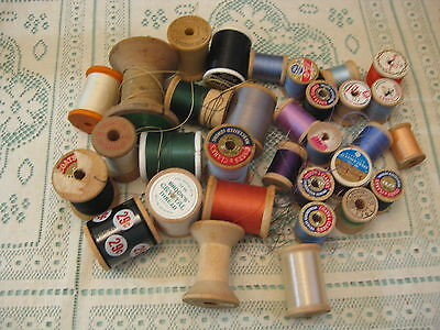 Lot of  32 Vintage Wooden Sewing Thread Spools for Crafts Etc.Assorted Sizes #5