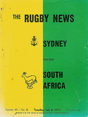 SOUTH AFRICA 1971 RUGBY TOUR PROGRAMME v SYDNEY 6 Jul