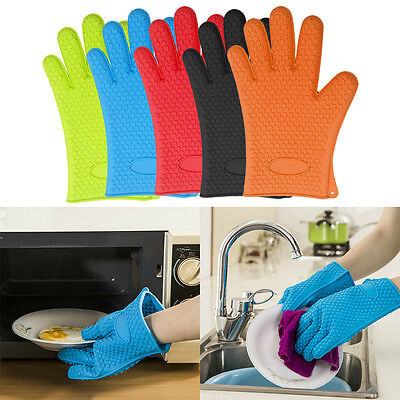 1 Pair Oven Glove Kitchen Heat Resistant Silicone Baking BBQ Cook Mitts 5 Colour