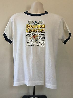 Vtg 80s Screen Stars Racquetball Excuse Ringer T-Shirt White L Funny 50/50