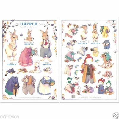 Shackman The Hopper Bunny Rabbit Family Paper Doll And Clothes Set #Shk-29