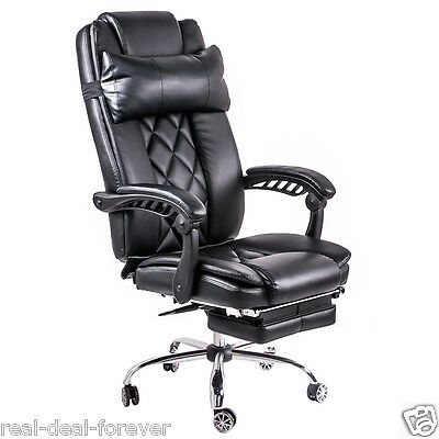 Luxury Office Chair High Back Computer Chair Adjustable Leather Recliner Swivel