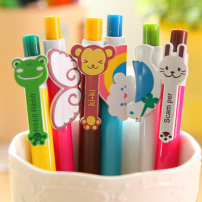 6Pcs/Lot New Cartoon Pen Ballpoint Pens Stationery Ballpen Novelty Stationery