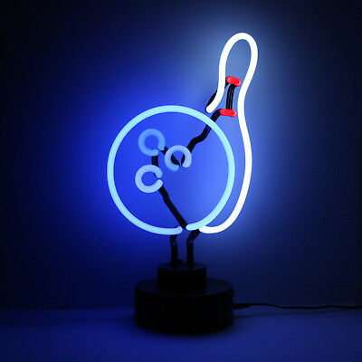 Real Neon 3D Light Sculpture Table Lamp Alley 10 Ten Pin BOWLING PIN AND BALL