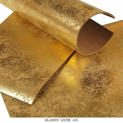 Rindleder Gold Antik Metallic 3,0 mm Dick A3 Stück Büffelleder Leather 154