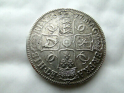 Superb 1677 Charles 11 Gvf Crown