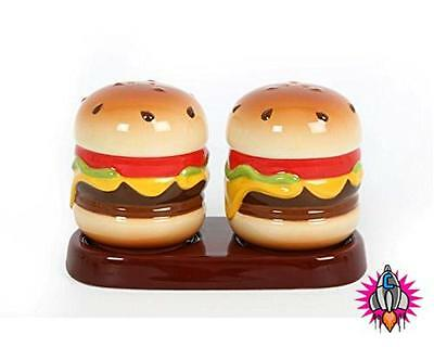 Retro Style Ceramic Hamburger Burger Salt And Pepper Pots Cruit Set With Base