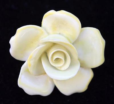 Vintage Signed Made in England Goldtone  Bone China YELLOW ROSE Pin Brooch