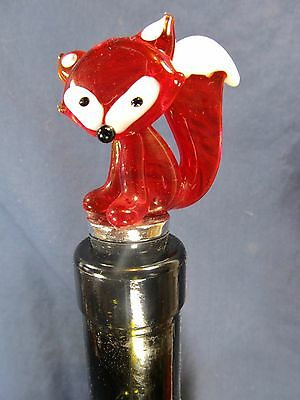 Red Fox Wine Bottle Stopper Hand made glass Bar Accessory