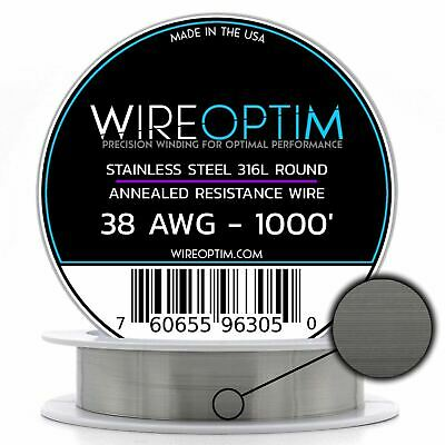 Stainless Steel 316L Wire 22 23 24 25 26 27 28 32 34 36 38 40 AWG 25' - 1000'
