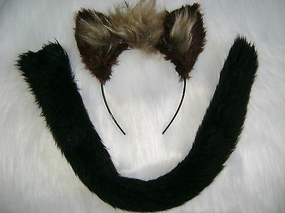 Hyena Ears And Tail Dark Brown & Light Brown Fancy Dress Clip On Tail With Ears