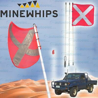 Mine Whip 3 Piece 3.0 Metre High Vis Safety Sandflag + Mount 4X4 4Wd Bull Bar