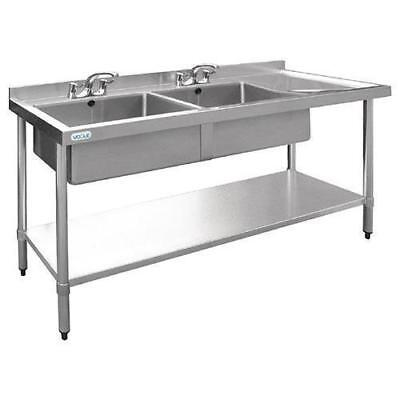 Double Sink with Drainer, Left, Stainless Steel, Commercial, 1500 x 700 x 900mm