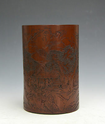 Rare 18th c. Chinese Qing Carved Landscape Bamboo Brush Pot with Zhi Yan Mark