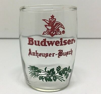 "HTF Vintage Anheuser Busch Budweiser Small Beer Glass Cup 3"" Tall 2"" Dia. RARE"