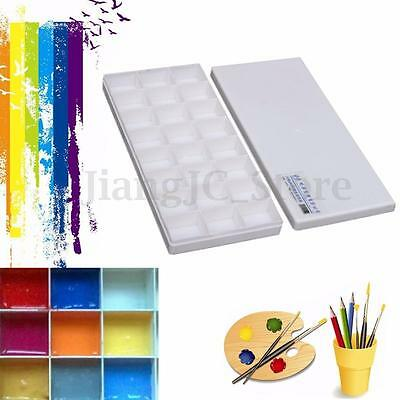 24 Well Plastic Artist Oil Watercolor Paint Painting Tray Drawing Mixing Palette
