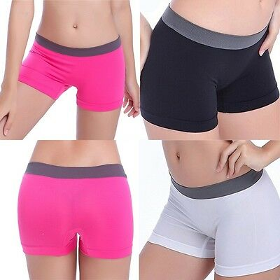 Womens Seamless Stretch Shorts Solid Spandex Workout Basic Plain Tight Yoga Pant