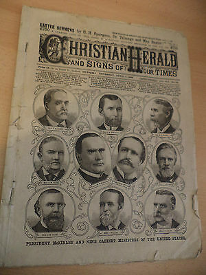 Christian Herald Old Antique Magazine 1800S 7 April 1898 President Mckinley Usa