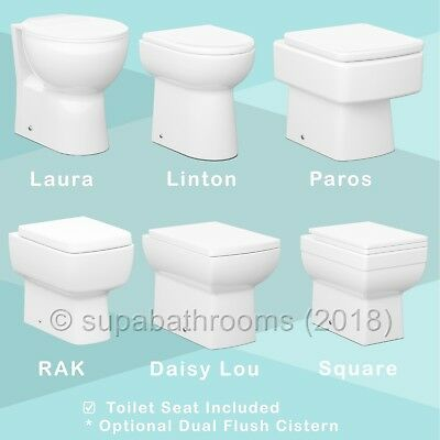 BTW Back To Wall Toilet WC Square/D Shape, Concealed Dual Flush Cistern Optional