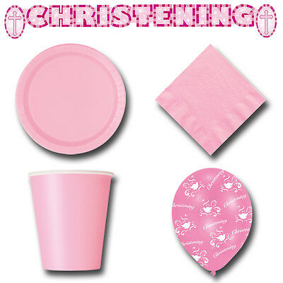57 Item Set - Christening Girls Lovely Pink Tableware & Decorations Party Pack B