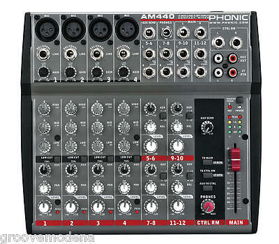 PHONIC AM440 mixer audio 4 canali professionale per live karaoke studio NUOVO