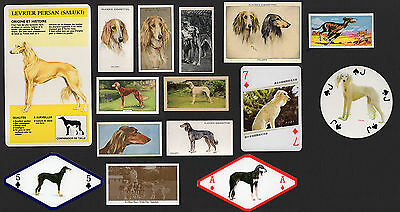 15 Original Saluki  Vintage Collectable Dog Cigarette Trade And Breed Cards