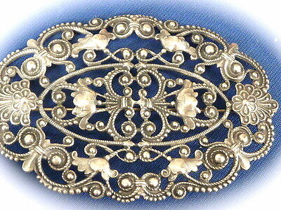 Victorain amazing antique Silver plated elaborate ladies pin brooch