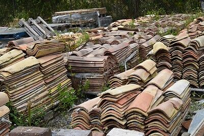 Large Lot of Mission/Canal Roof Tile 2,000+ Pieces Old Reclaimed Castelnaudary