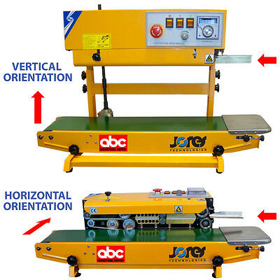 Tabletop Continuous Band Sealer Dual Orientation Bag Closer with Conveyor