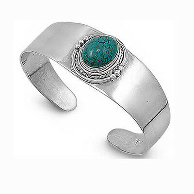 DESIGNER! NATURAL TURQUOISE CUFF BANGLE STYLE SOLID .925 Sterling Silver HEAVY!