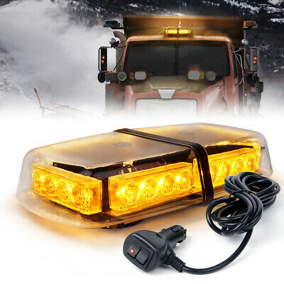 Roof Top 24 LED Flash Emergency Warning Mini Strobe Light Bar Amber Yellow 12W