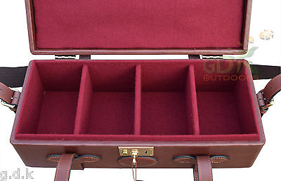 Gdk Guardian Leather Ammunition Case, Travel Ammo Box, Dark Brown, Dividers