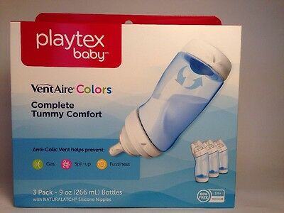 3x PLAYTEX BABY Bottles VENT AIRE Silicone Nipple 3m+ Medium VentAire 9oz Bottle