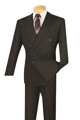 Men's Dress Suit Double Breasted 6 Buttons 2 Piece Solid Black Classic Fit