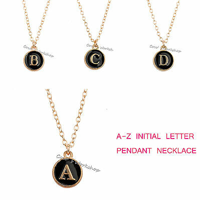 Gold Initial Necklace Alphabet A-Z Circle Pendant Necklace Xmas Gift Girls Women