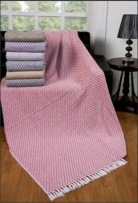 Large 100% Cotton Sofa Blanket Double Bed Throw Arm Chair Covers, 7 Colours