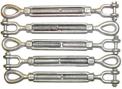 """Turnbuckle 6pk 1/2"""" x 6"""" Eye/Jaw for wire rope cable batting cages 2200lb W.L."""