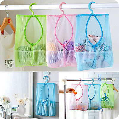 Kitchen Bathroom Hanging Storage Clothespin Mesh Bag Organizer Hanging Hook HT