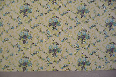 1/24th or 1/2 scale Miniature Dollhouse Roosevelt Rose Blue Wallpaper - 2 sheets