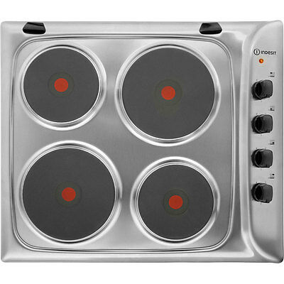 Indesit PIM604IX Built In 58cm 4 Burners Solid Plate Hob Stainless Steel New