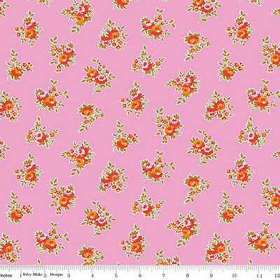 Fat Quarter Milk Sugar And Flower Cats Rabbits Pink Cotton Quilting Fabric