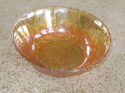 Indiana Glass Bowl Gold Amber Weave Basketweave - 9 Inches