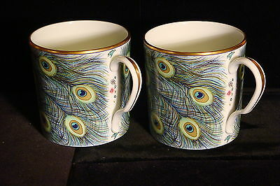 Pair of Mottahedeh Peacock Feather Mugs