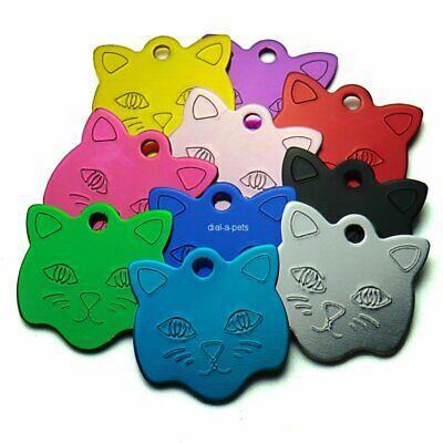 Small CAT Charm address ID Pet Disc Collar Name Tag Deep Engraved & Posted Free!