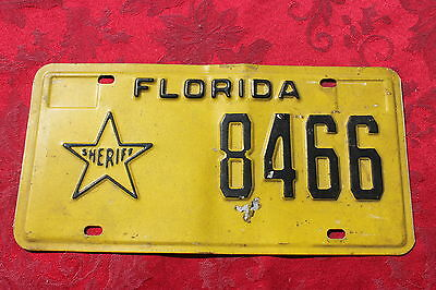 """FLORIDA- """" SHERIFF """"- License Plate. Plate #8466. Black On Yellow- Must See !"""