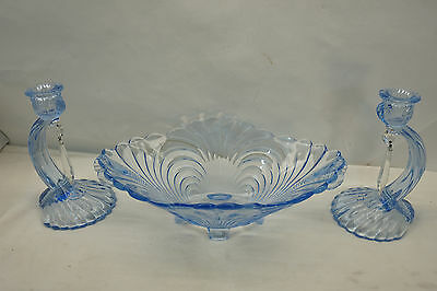 Vintage Cambridge Glass Caprice 3 Pc Set Moonlight Blue Bowl Candle Holders Pair
