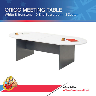 Origo D End Meeting Table, Boardroom Table Conference Tables White and Ironstone