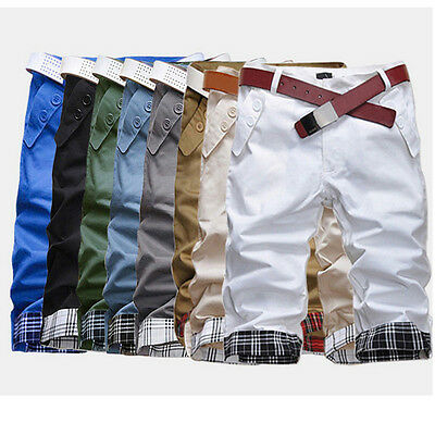 #30432 Men's Casual Summer Cargo Combat Chino Cotton Pants Work Trousers Shorts