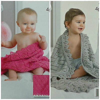 KNITTING PATTERN Baby Easy Lace Blanket/Shawl 4ply King Cole 4211